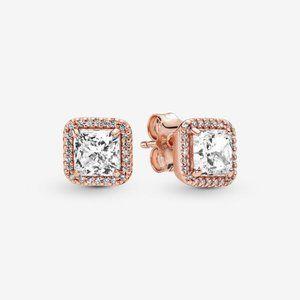Pandora  Square Sparkle Halo Stud Earrings